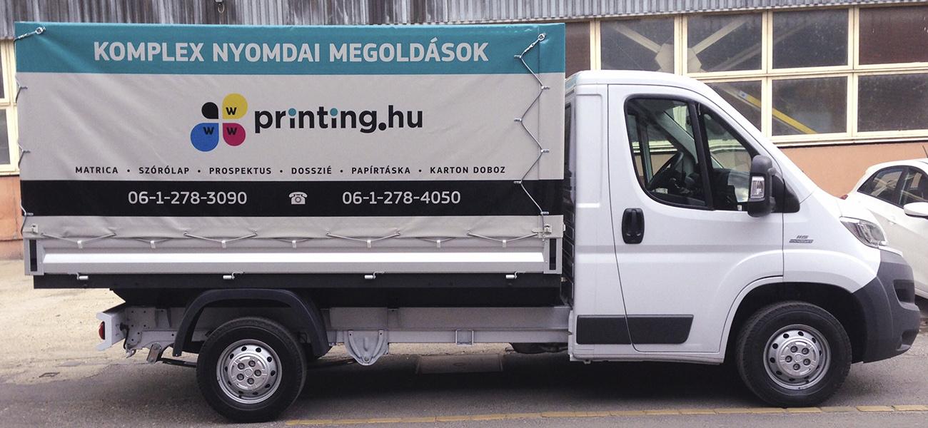 A teherautó ponyva menő reklám